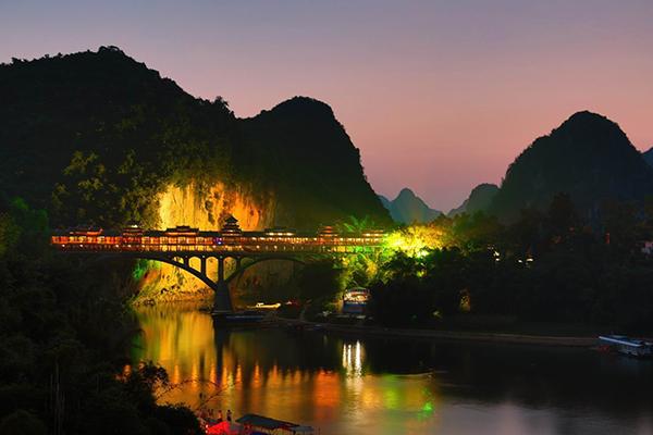 宜州风雨桥夜景